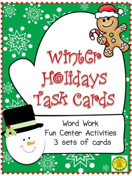 Winter Holidays Task Cards: Word Work and Vocabulary