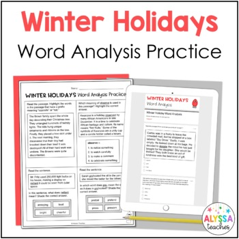 Winter Holidays Word Analysis Worksheets (SOL 4.4)