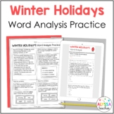 Winter Holidays Word Analysis Worksheets (SOL 4.4) Print a