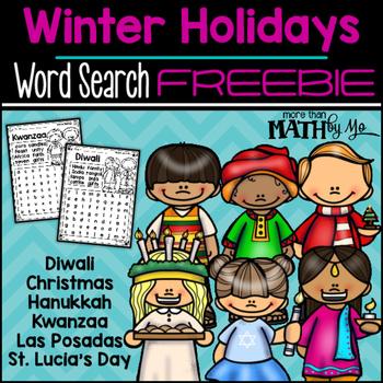 Winter Holidays Word Search FREEBIE