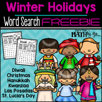 Winter Holidays Word Search FREEBIE