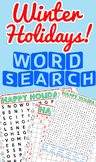 Winter Holidays Word Search Pack! (Christmas, Chanukkah, and Kwanzaa)