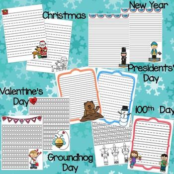 Winter Holidays Writing Paper Bundle