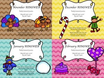 Winter  Homework BUNDLE for AIMSWEB or DIBELS