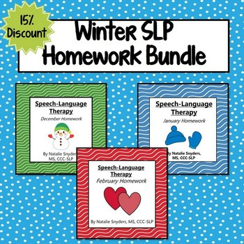 Winter Homework Bundle for Speech Language Therapy - December, January, February