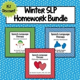 Winter Homework Bundle for Speech Language Therapy - Decem