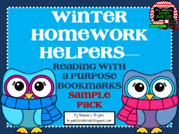 Winter Homework Helpers— Reading with  a Purpose  Bookmarks Sample  Pack