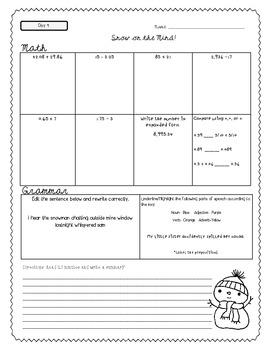 Winter Homework Pack *Common Core Aligned* 5th Grade
