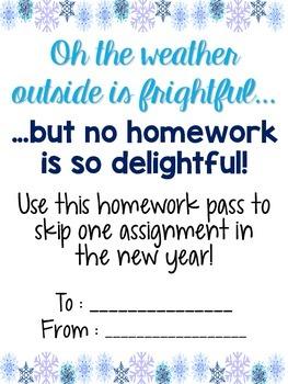 Winter Homework Pass [Freebie!]