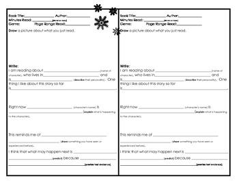 Winter Homework: Reading Log with Sentence Stems