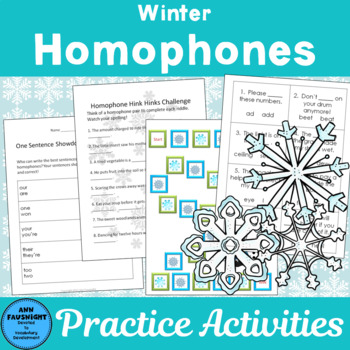 Winter Homophones: Activities, worksheets, and Games by Ann Fausnight