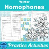 Winter Homophones: Activities, worksheets, and Games