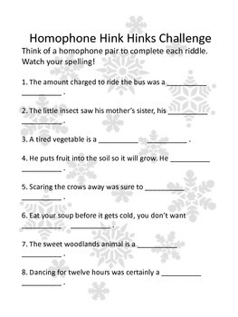 Winter Homophones: Activities, worksheets, and Games