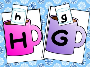 Winter Hot Chocolate Letter Match Literacy Center Activity