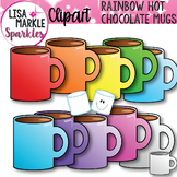 Winter Hot Chocolate Mugs and Marshmallow Clip Art