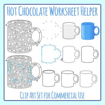 Winter Hot Chocolate Worksheet Helper Clip Art Set for Commercial Use