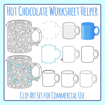 Winter Hot Chocolate Worksheet Helper Clip Art Set for Commercial Use