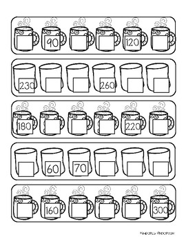 Winter Hot Cocoa: Skip Counting by 10's Differentiated Worksheets