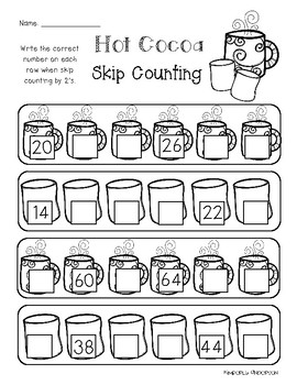 Winter Hot Cocoa: Skip Counting by 2's Differentiated Worksheets