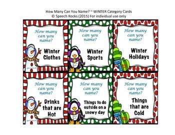 Winter ~ How Many Can You Name? Conversation & Oral Expression Cards {FREEBIE}