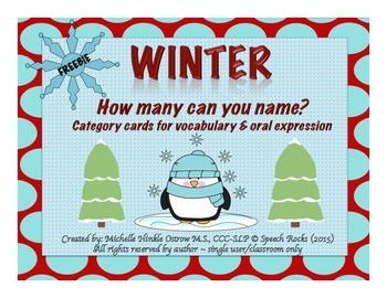 Winter ~ How Many Can You Name? Conversation & Oral Expres