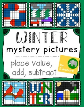 Winter Hundreds Chart Mystery Pictures - Place Value, Add,