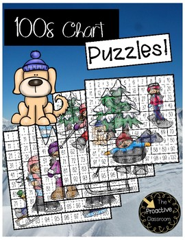Winter Hundreds Chart Puzzles- Number Sense Activities on 100s Chart!