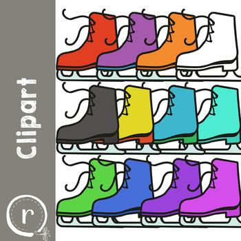 Winter Ice Skates Clip Art (RDS Clipart)