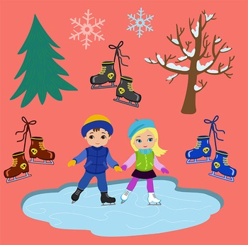 Winter Ice Skating Clipart Boys Bundle