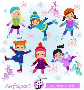 Winter Ice Skating Clipart  Girls Bundle