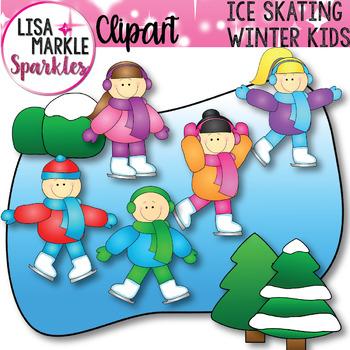 Winter Ice Skating Kids Clip Art Set