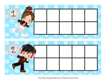 Winter Ice Skating Ten Frame Cards