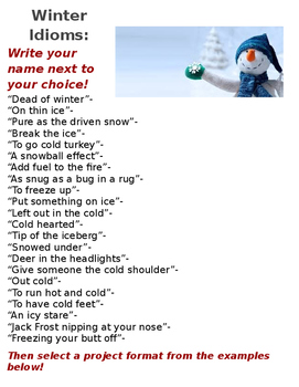 Winter Idioms Project