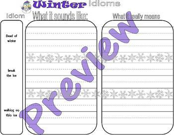 Winter : Idioms, True or False, Cause & Effect * LINED PAPER * Activity