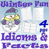 Winter : Idioms, True or False, Cause & Effect * LINED WRITING PAPER * Activites