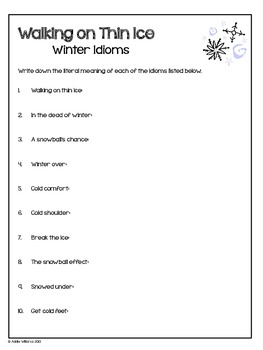 Idioms - Winter Themed Idioms for Writing Prompts & More!