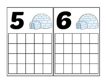 Winter Igloo Ten Frame Activity (Numbers 1-20)