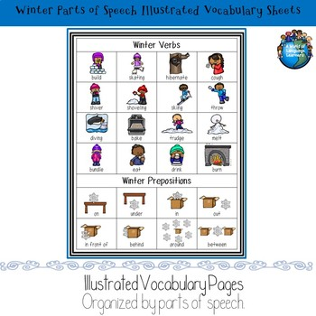 Winter Illustrated Vocabulary Sheets