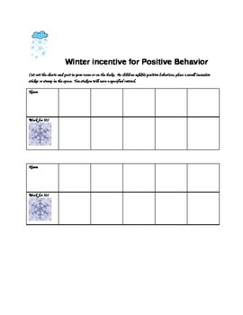 Winter Incentive for Positive Behavior