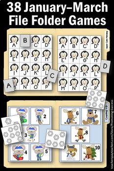 Winter Math & Literacy File Folder Games Autism Special Education ESL Centers