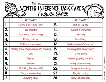 Winter Inference Task Cards