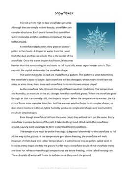 Winter Informational Reading Passage - Snowflakes