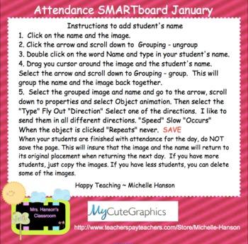 Winter Interactive Attendance SmartBoard