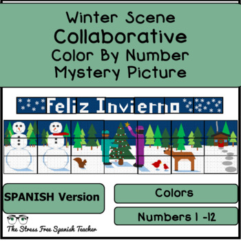 Spanish Color By Number COLLABORATIVE Poster (Spanish Version) Winter, Invierno