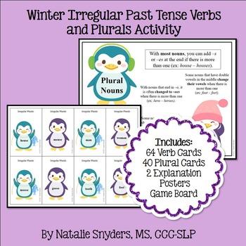 Winter Irregular Past Tense Verbs and Plurals Activity