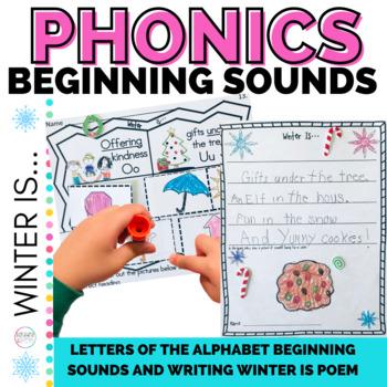 Winter Activities Beginning Sound Worksheets for Kindergarten