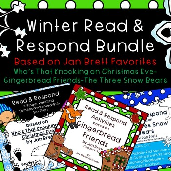 Jan Brett BUNDLE Who's That Knocking, Gingerbread Friends, The Three Snow Bears