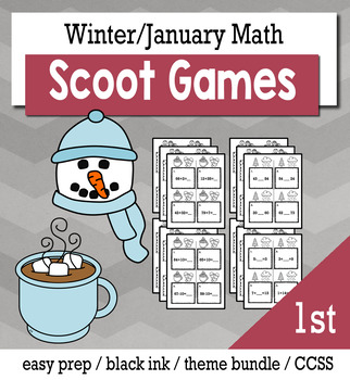 Winter January 1st Grade {Scoot Game/Task Cards} Math Bundle