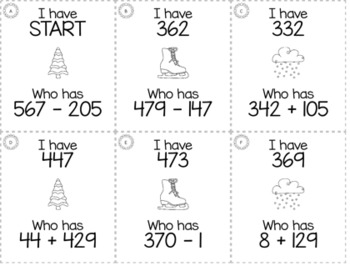 """Winter January 3rd  Grade """"I Have, Who Has"""" Math Game Bundle"""