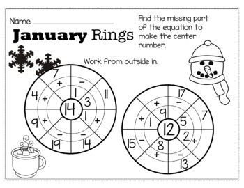 Winter January Math for 1st Grade - NO PREP Packet